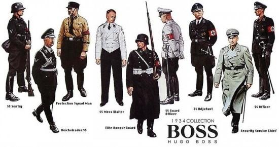 その後、ドイツで急速に勢力を伸ばしてきたナチス党に入党し、1933年にはナチス・ドイツの制服のデザインと製造を請負います。